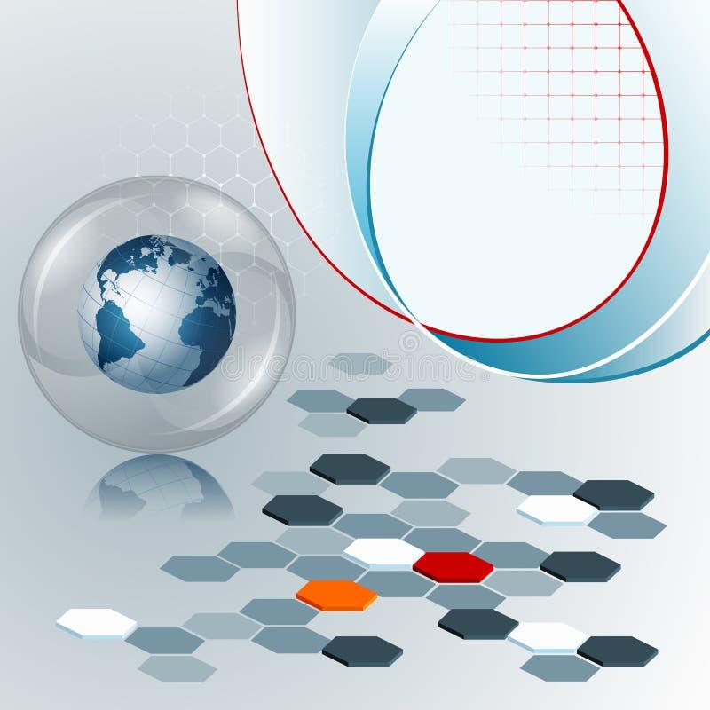 Projete o molde com composição de três dimensões com hexágonos e globo da terra ilustração stock