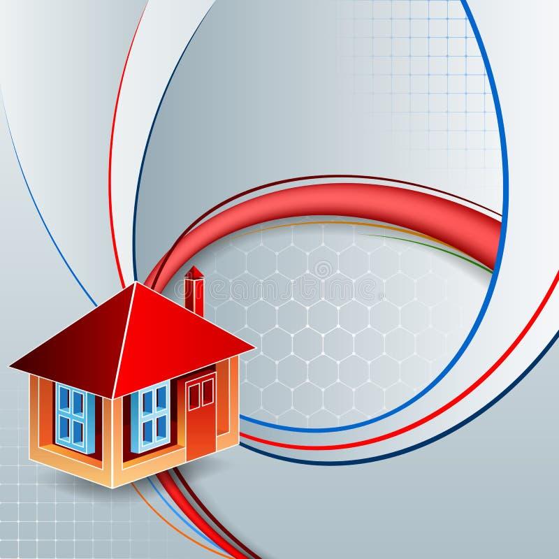 Projete o molde com três dimensões, casa estilizado em formas lineares ilustração royalty free