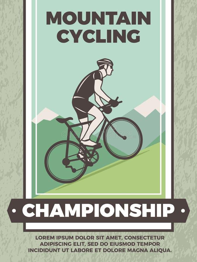 Projete o molde do cartaz do vintage para o clube da bicicleta ilustração stock