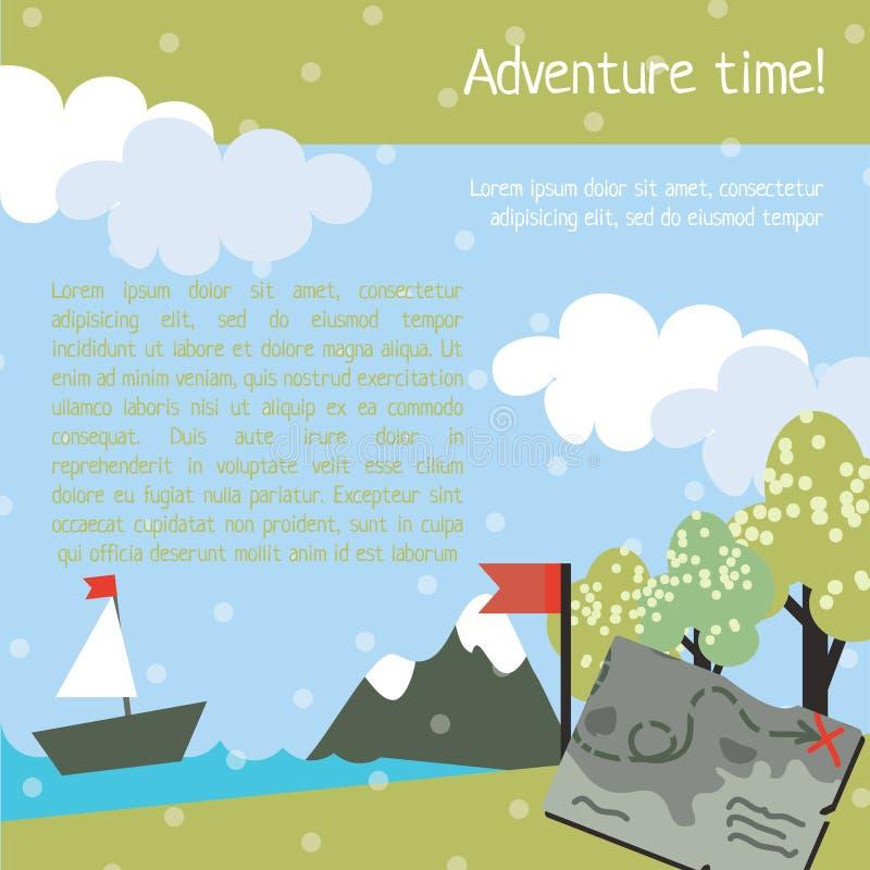 Projete o molde para crianças com mapa e árvore ilustração do vetor