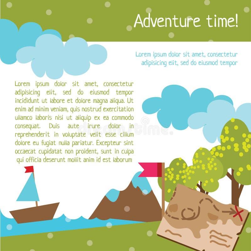 Projete o molde para crianças com mapa e árvore ilustração stock