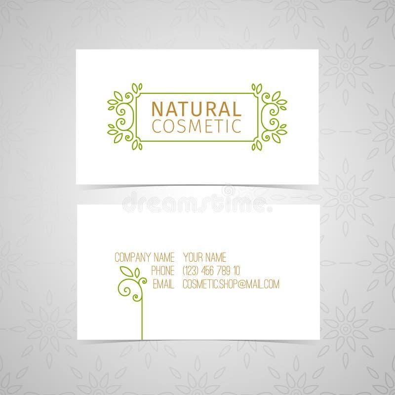 Projete o molde para o cartão natural orgânico dos cosméticos com linha logotipo e rode elemento e floresça, folheie, erva ilustração royalty free