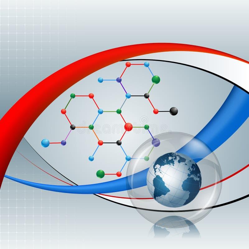 Projete o molde para o globo abstrato da terra do fundo da tecnologia na estrutura química sextavada ilustração royalty free