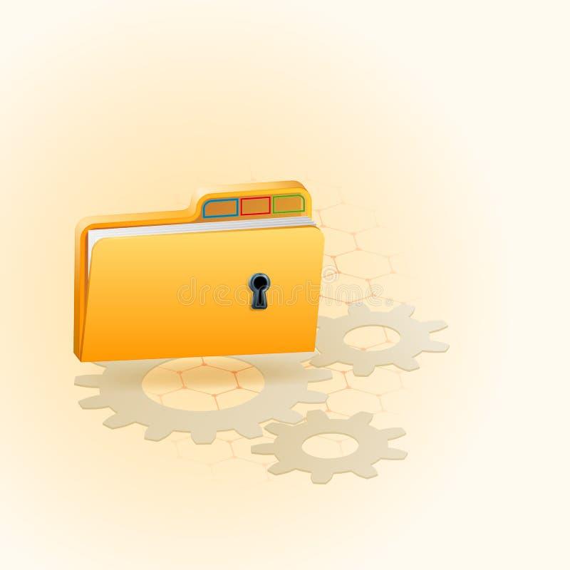 Projete o molde, um arranjo de três dimensões com símbolo do dobrador equipado com o furo chave ilustração stock