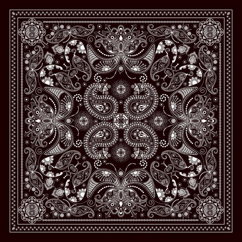 Projete para o bolso quadrado, xaile, matéria têxtil ilustração do vetor