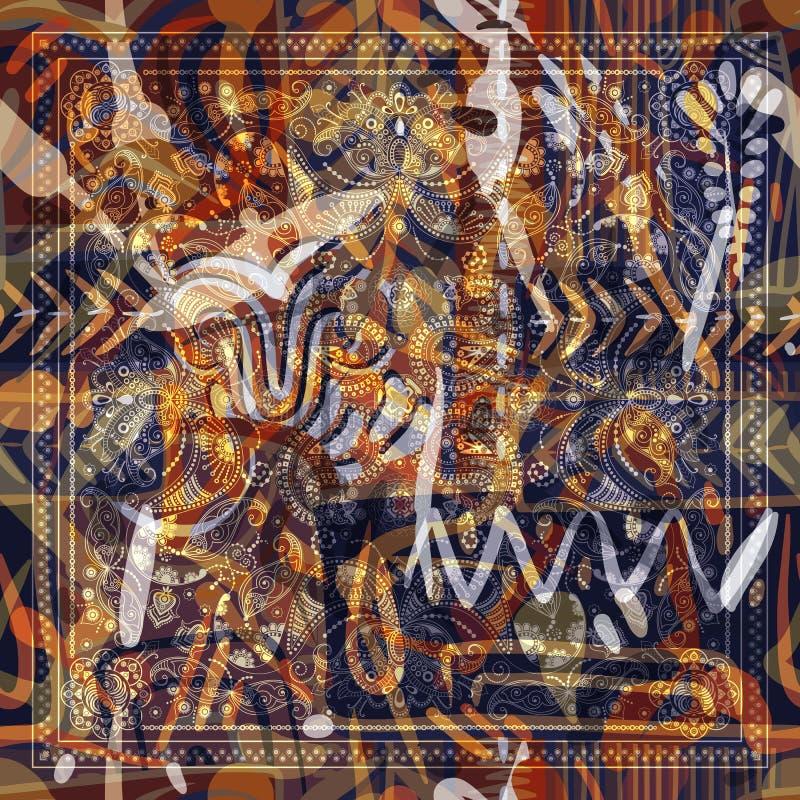 Projete para o bolso quadrado, xaile, matéria têxtil Teste padrão floral abstrato de Paisley ilustração royalty free