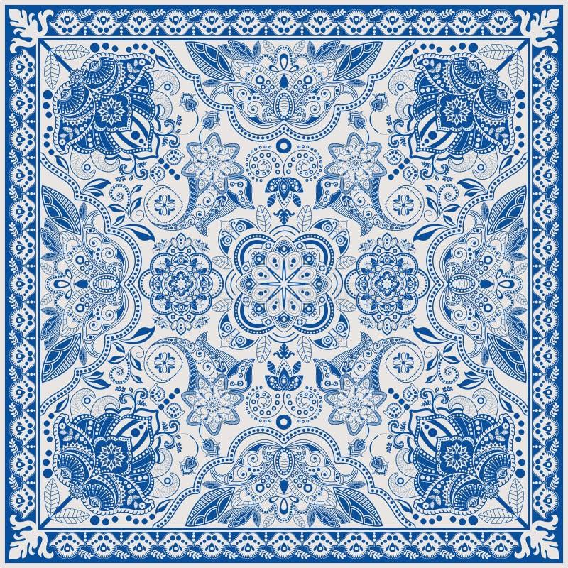 Projete para o bolso quadrado, xaile, matéria têxtil Teste padrão floral de Paisley ilustração royalty free