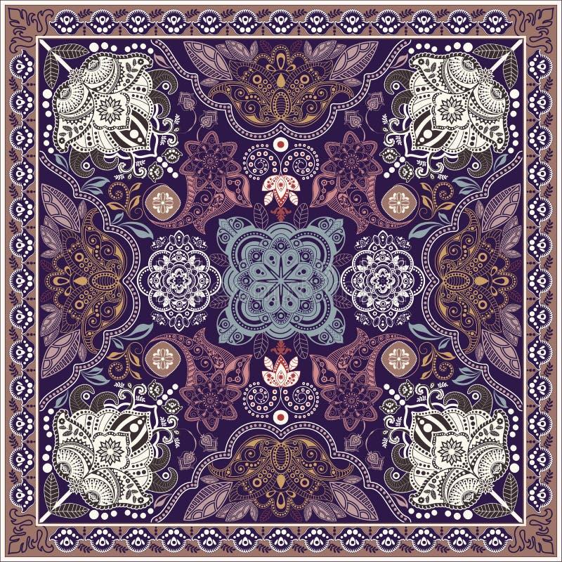 Projete para o bolso quadrado, xaile, matéria têxtil Teste padrão floral de Paisley ilustração do vetor