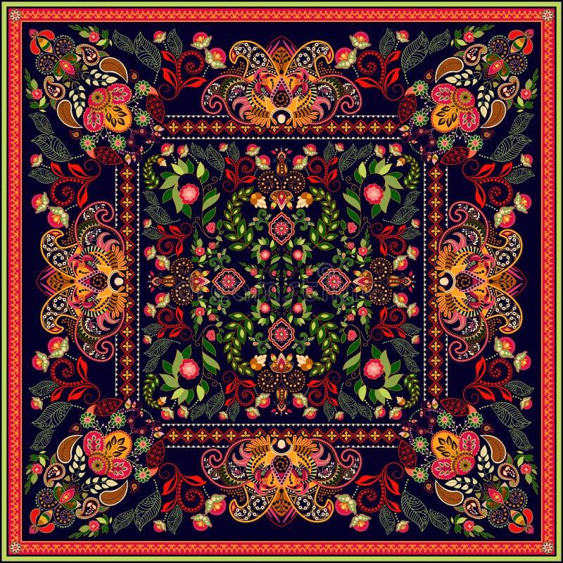 Projete para o bolso quadrado, xaile, matéria têxtil Teste padrão floral de Paisley Fundo do vetor ilustração royalty free