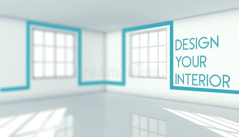 Projete seu interior na sala vazia, conceito ilustração stock