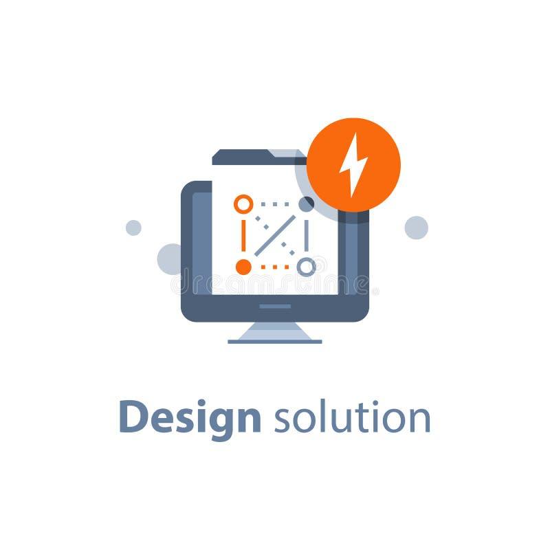 Projete a solução, a tecnologia da Web e o desenvolvimento, o conceito da criptografia, a proteção de dados e a segurança, sistem ilustração royalty free
