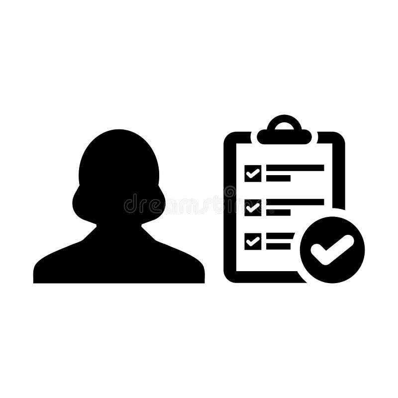 Projetez l'avatar de profil de personne féminine de vecteur d'icône avec le document de rapport de liste de contrôle d'enquête et illustration libre de droits