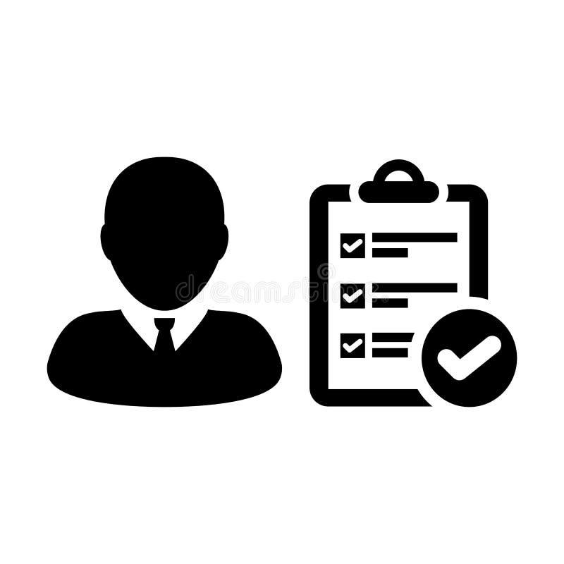 Projetez l'avatar de profil de personne masculine de vecteur d'icône avec le document de rapport de liste de contrôle d'enquête e illustration stock