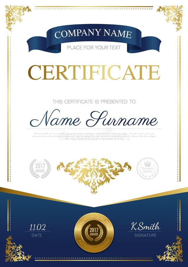 Projeto à moda do certificado ilustração royalty free