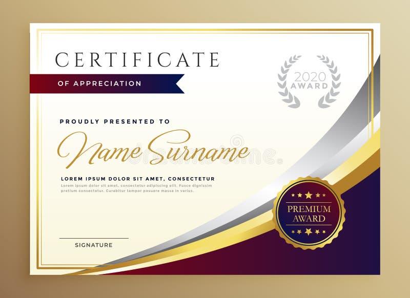 Projeto à moda do molde do certificado no tema dourado ilustração royalty free