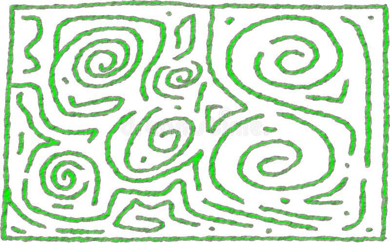 Projeto áspero do cal e do número 6 cinzentos do estilo do labirinto ilustração do vetor