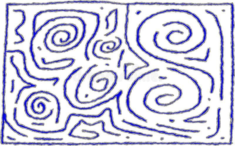 Projeto áspero do número 6 do estilo do labirinto para o uso do fundo ou do primeiro plano ilustração do vetor