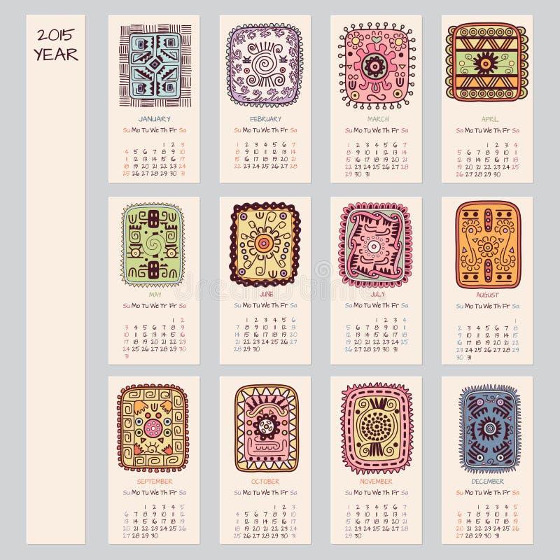 projeto étnico do calendário de 2015 anos ilustração royalty free