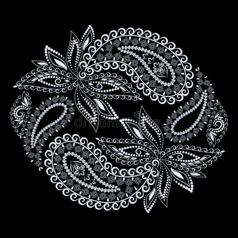 Projeto étnico redondo preto e branco com paisley Cópia do vetor ilustração royalty free