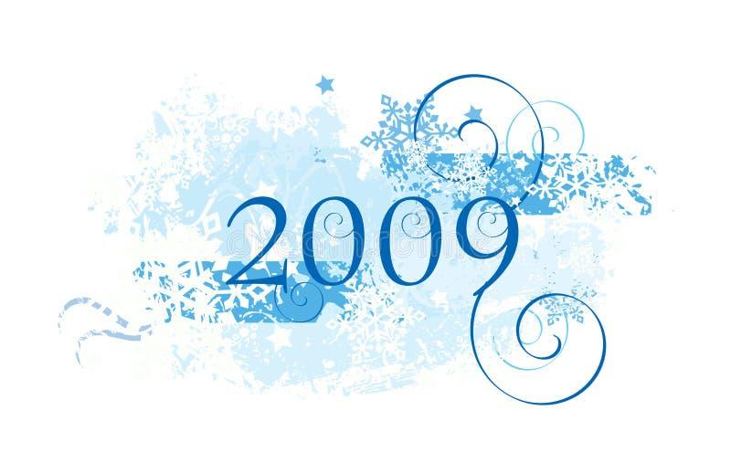 Projeto 2009 dos flocos de neve ilustração royalty free