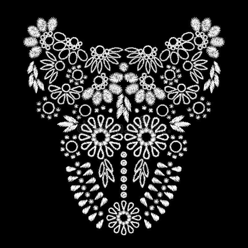 Projeto abstrato branco da arte finala do bordado para a roupa do decote ilustração stock