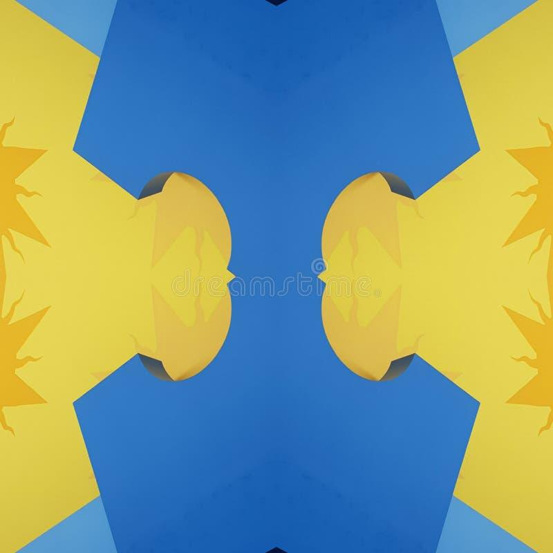 projeto abstrato com cortes do cartão em cores, no fundo e na textura amarelos e azuis ilustração stock