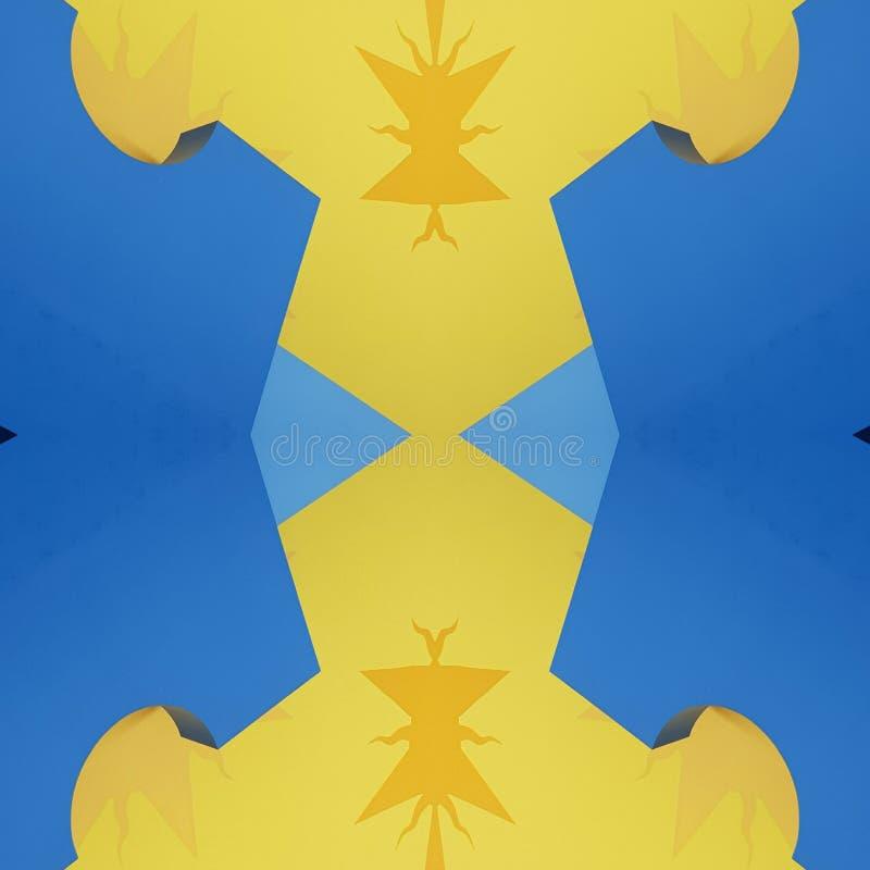 projeto abstrato com cortes do cartão na cor, no fundo e na textura amarelos e azuis ilustração royalty free