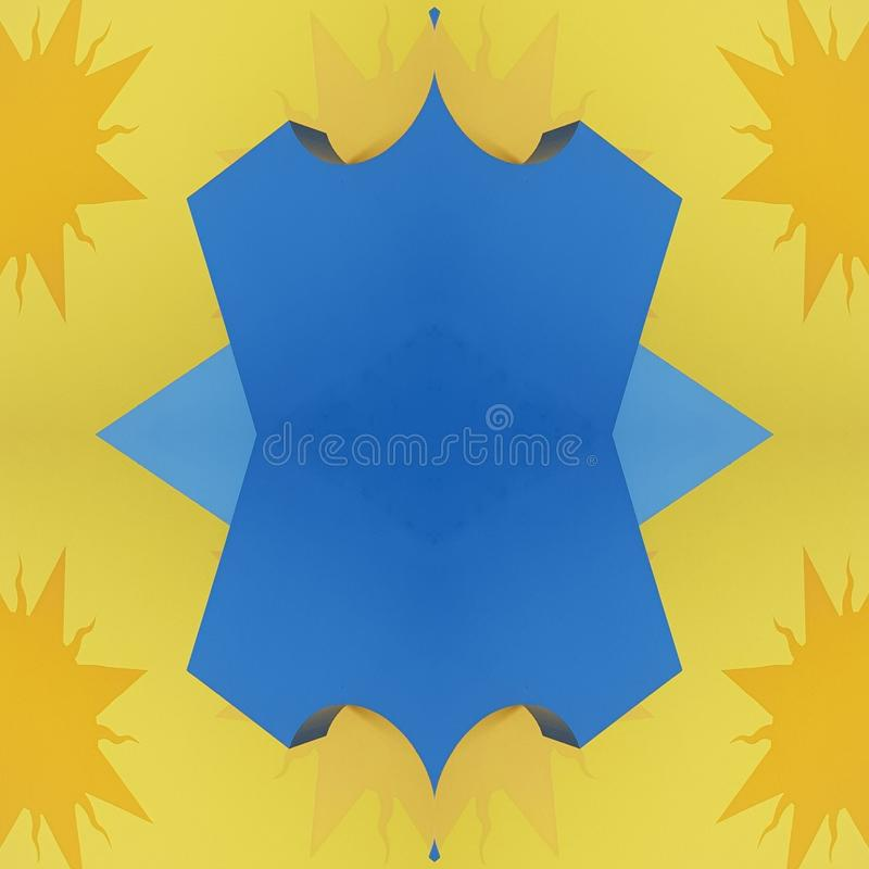 projeto abstrato com cortes do cartão na cor, no fundo e na textura amarelos e azuis ilustração do vetor