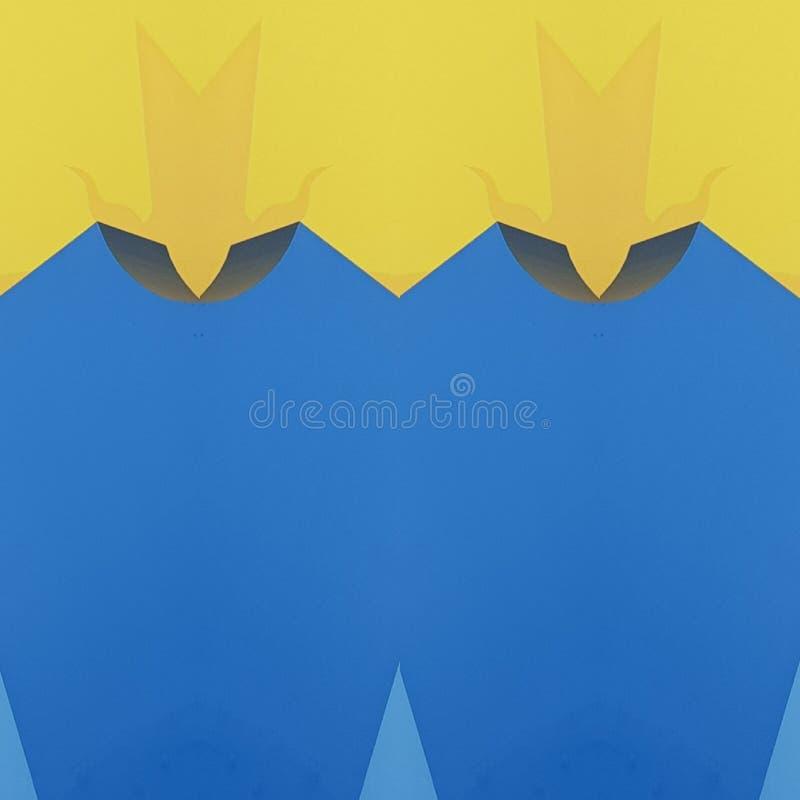 projeto abstrato com cortes do cartão na cor, no fundo e na textura amarelos e azuis ilustração stock