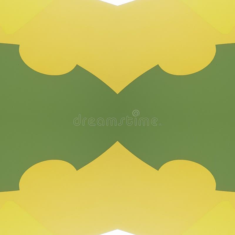 projeto abstrato com cortes do cartão na cor, no fundo e na textura verdes, amarelos e brancos ilustração do vetor