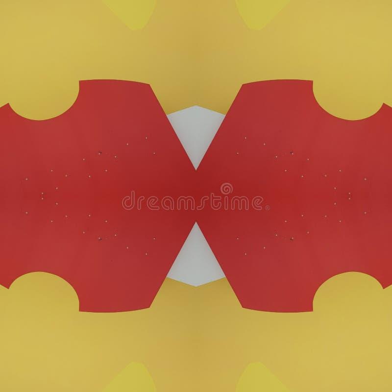 projeto abstrato com cortes do cartão na cor, no fundo e na textura vermelhos, amarelos e brancos ilustração do vetor
