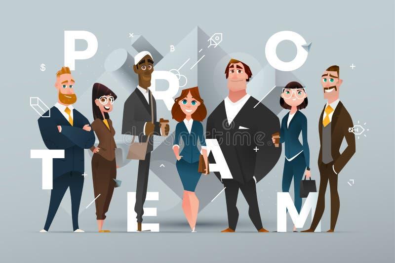 Projeto abstrato da bandeira do negócio com personagens de banda desenhada fotos de stock