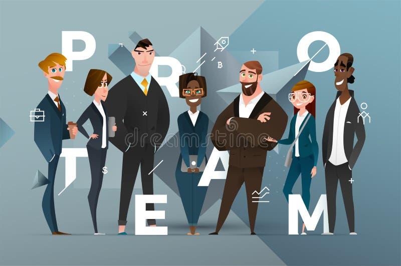 Projeto abstrato da bandeira do negócio com personagens de banda desenhada imagens de stock