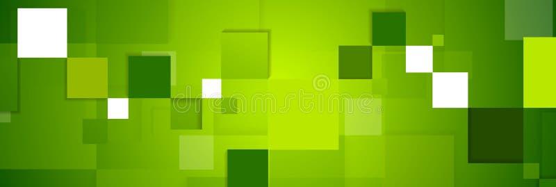 Projeto abstrato da bandeira da Web da tecnologia dos quadrados do verde ilustração do vetor