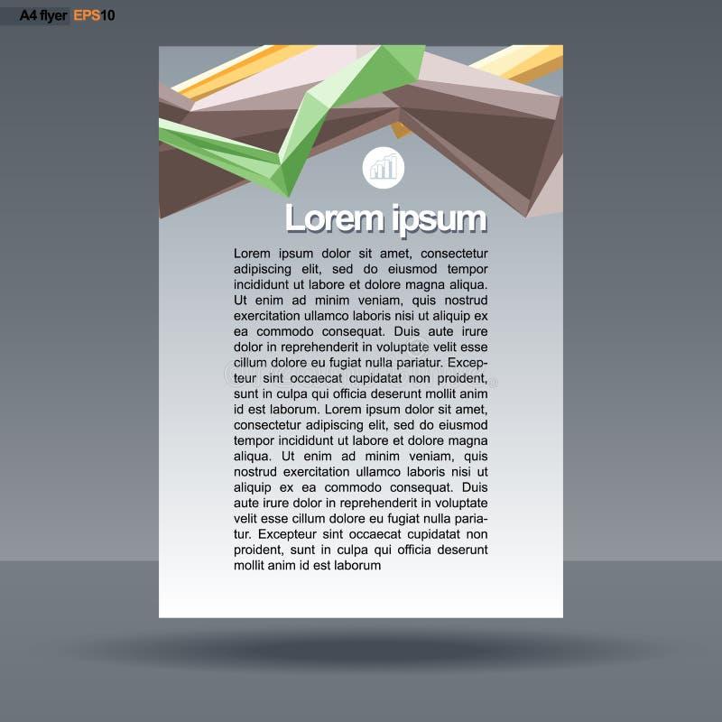Projeto abstrato da cópia A4 com linhas coloridas para os insetos, bandeiras ou cartazes, com ícones da carta, sobre o fundo de p ilustração stock