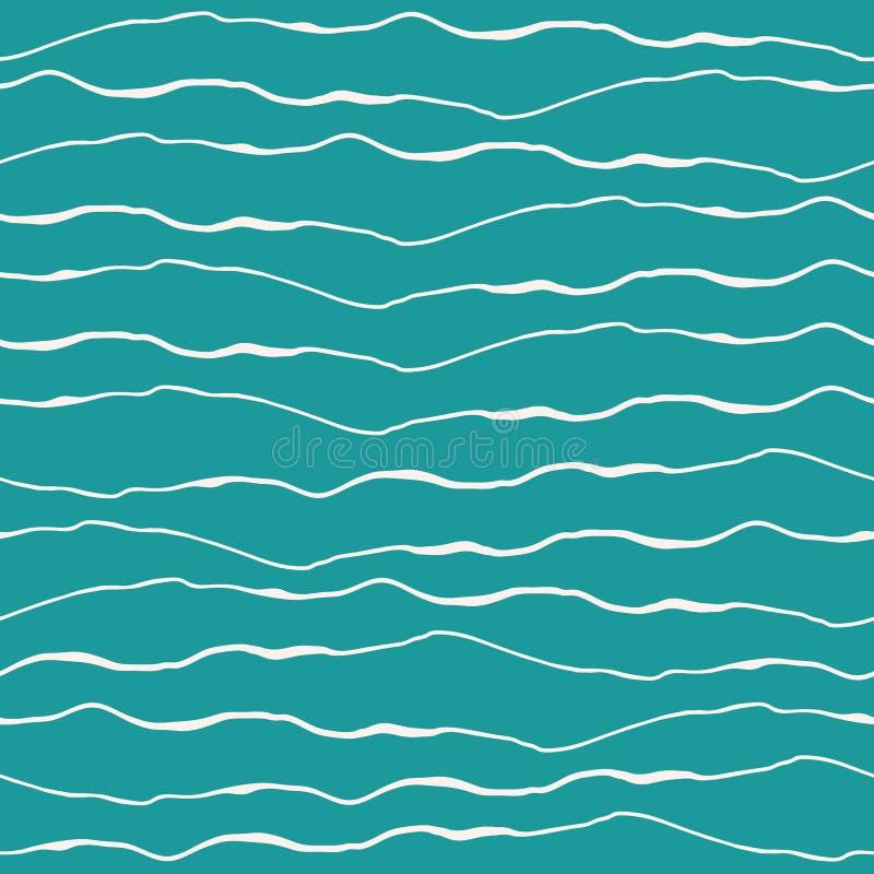 Projeto abstrato da onda de oceano com linhas brancas tiradas mão da garatuja no fundo de turquesa Teste padrão sem emenda do vet ilustração stock