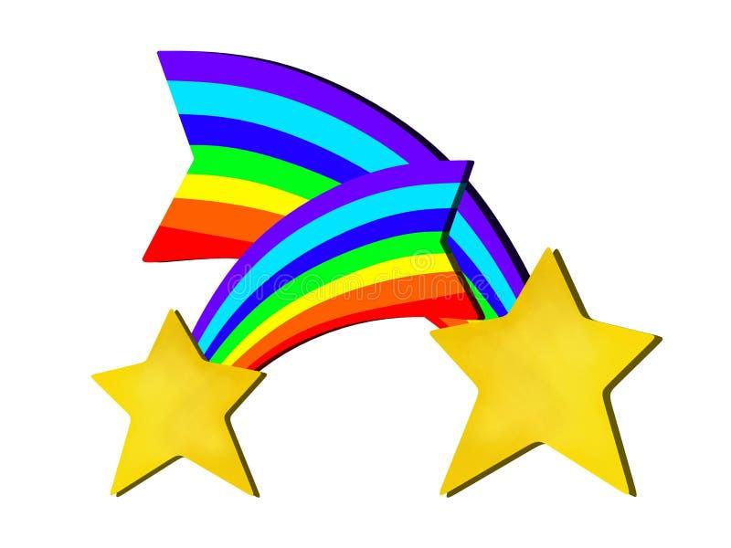 Projeto abstrato das estrelas do arco-íris ilustração stock