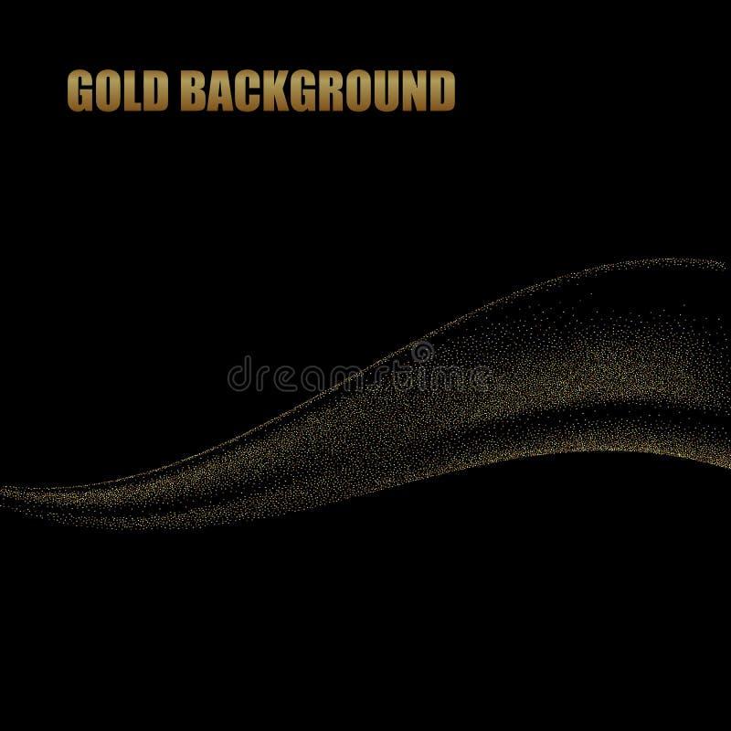 Projeto abstrato das ondas do ouro As linhas moventes douradas brilhantes projetam o elemento com efeito do brilho no fundo escur ilustração do vetor