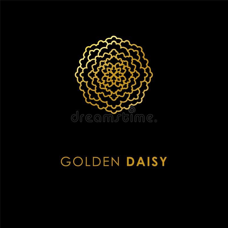 Projeto abstrato do ícone do logotipo da flor Símbolo dourado elegante da margarida T ilustração stock