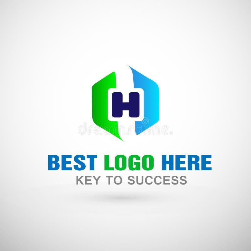 Projeto abstrato do ícone do logotipo do hexágono do vetor do logotipo da saúde com letra H para para a empresa médica ilustração royalty free