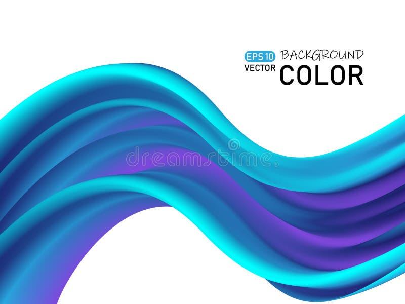 Projeto abstrato do cartaz da forma do fluxo da cor Onda 3D azul ilustração royalty free