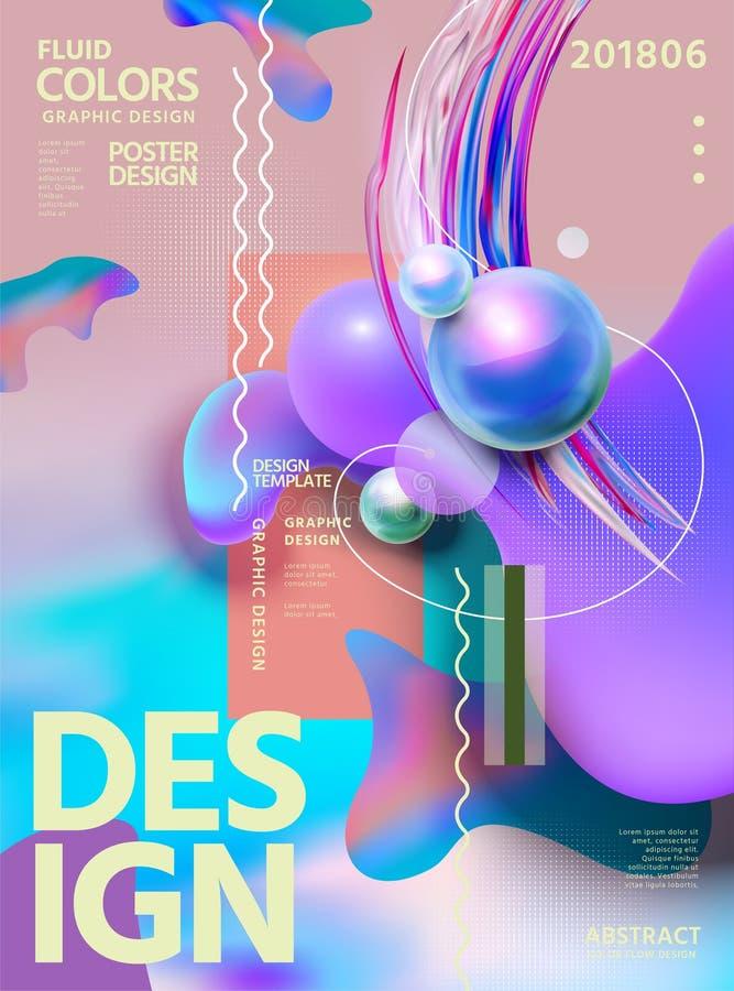 Projeto abstrato do cartaz das cores do líquido ilustração do vetor