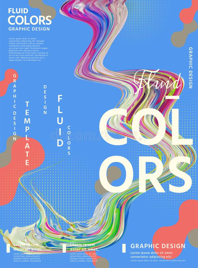 Projeto abstrato do cartaz das cores do líquido ilustração stock