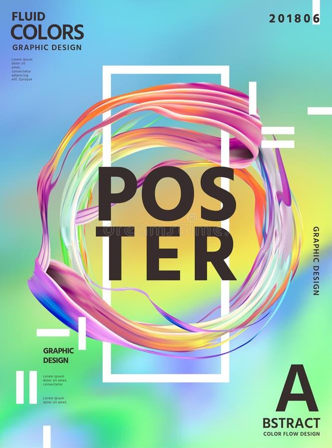 Projeto abstrato do cartaz das cores do líquido ilustração royalty free