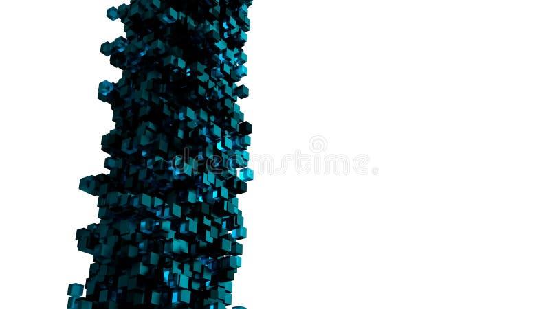 Projeto abstrato do cubo, 3D para render Os blocos azuis e pretos são isolados no fundo branco Projeto gráfico futurista e modern ilustração do vetor