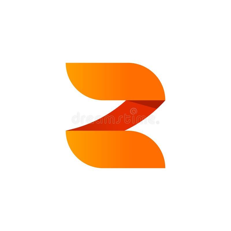 Projeto abstrato do elemento do vetor do logotipo da letra Z isolado no fundo branco, símbolo alaranjado do número 2 do inclinaçã ilustração royalty free