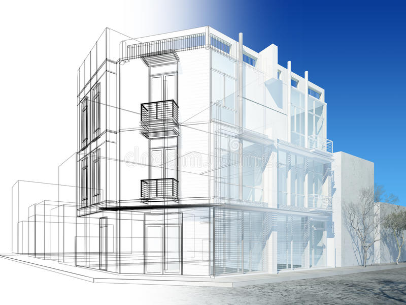 Projeto abstrato do esboço da construção exterior ilustração royalty free