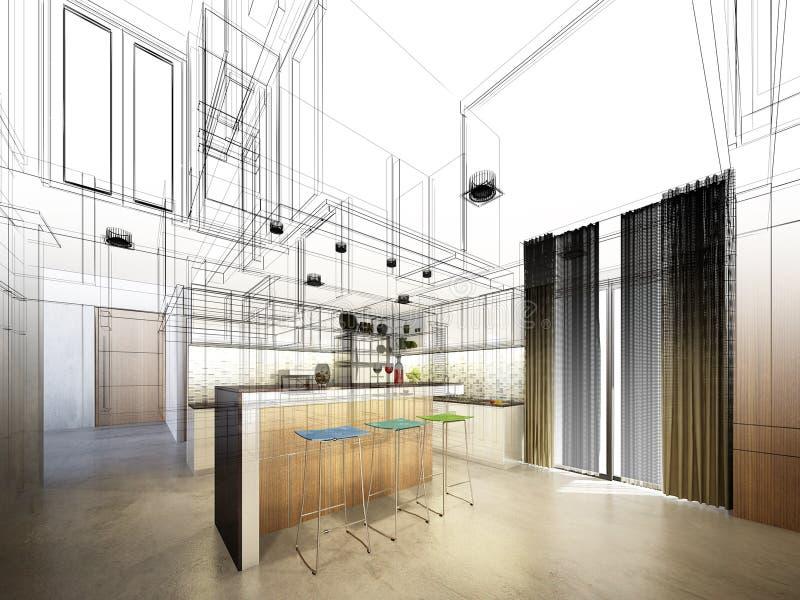 Projeto abstrato do esboço da cozinha interior ilustração do vetor