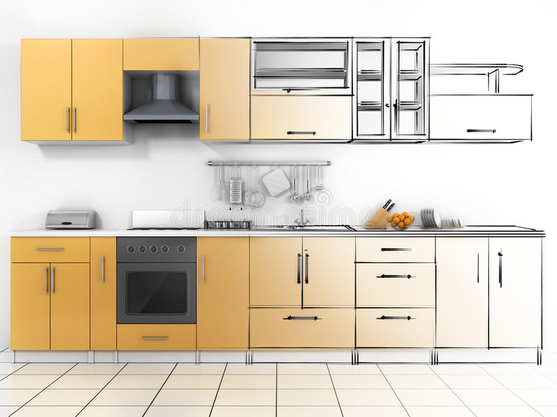 Projeto abstrato do esboço da cozinha interior ilustração stock