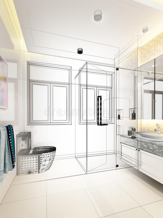 Projeto abstrato do esboço do banheiro interior fotos de stock royalty free